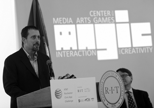 Andy speaking at the AT&T App Challenge Launch with members of local government